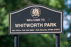 © Licensed to London News Pictures. 23/07/2012. Manchester , UK . General view of Whitworth Park . Police report that two sisters have gone missing from their home . Liana Boyd , 11 and Teigan Boyd , 8 , were last seen at about 8pm last night (22nd July) when they went to play in Whitworth Park , close to their home . Photo credit : Joel Goodman/LNP