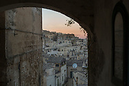 View of Matera at the sunset