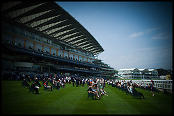 Racegoer's wait for the racing to start at Royal Ascot Day 2-Racing Fans<br /> Ascot, United Kingdom<br /> Wednesday, 19th June 2013<br /> Picture by Andrew Parsons / i-Images