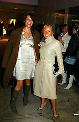 Left to right, stylist CHARLOTTE STOCKDALE and ALICE BAMFORD at Fashion Fringe - part of London fashion week held at the Selfridges Car Park, off Oxford Street, London on 22nd September 2004.<br />