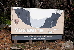 National Park Service sign at southern entrance to Yosemite National Park, California, United States of America