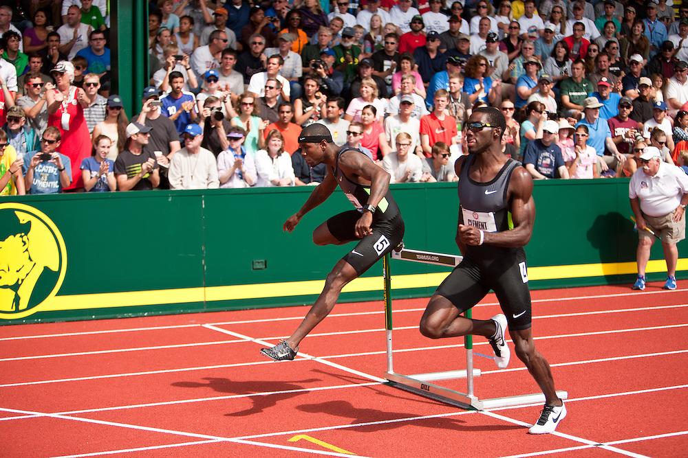 2012 USA Track & Field Olympic Trials: mens 400 hurdles, Bershawn Jackson, Kerron Clement