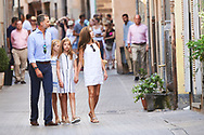 King Felipe VI of Spain, Crown Princess Leonor, Princess Sofia, Queen Letizia of Spain visit the Miro exhibition at Can Prunera museum in Soller on August 6, 2017 in Balearic Island, Spain
