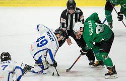 Tobias Kofler of Broncos vs Saso Rajsar of SZ Olimpija during ice hockey match between HK SZ Olimpija and WSV Sterzing Broncos Weihenstephan (ITA) in Round #12 of AHL - Alps Hockey League 2018/19, on October 30, 2018, in Hala Tivoli, Ljubljana, Slovenia. Photo by Vid Ponikvar / Sportida
