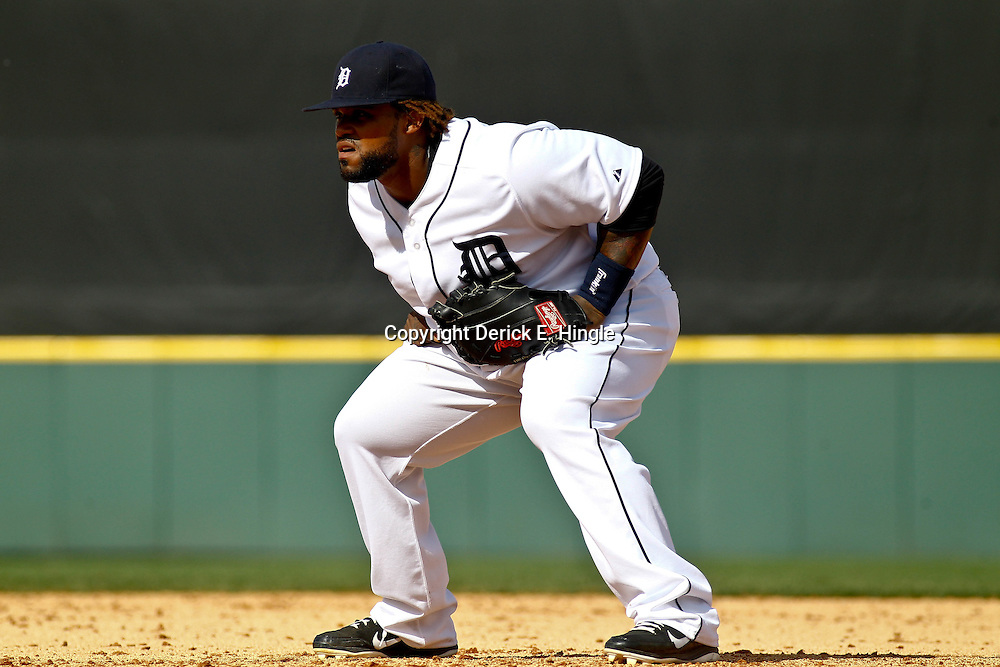 March 10, 2011; Lakeland, FL, USA; Detroit Tigers first baseman Prince Fielder (28) in the infield during a spring training game against the Washington Nationals at Joker Marchant Stadium. Mandatory Credit: Derick E. Hingle-US PRESSWIRE
