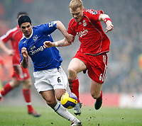 Fotball<br /> Foto: Propaganda/Digitalsport<br /> NORWAY ONLY<br /> <br /> Liverpool, England - Saturday, February 3, 2007: Liverpool's John Arne Riise and Everton's Mikel Arteta during the Merseyside Derby Premiership match at Anfield.