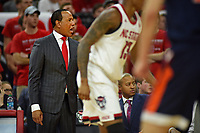 Men's basketball coach Kevin Keatts calls to his team during ACC action against UVA in PNC Arena.
