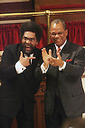 l to r: Cornell West and Rev. Calvin Butts at The Cornell West Talk held at The Abyssynia Baptist Church in Harlem , NYC April 1, 2009