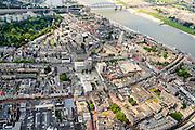 Nederland, Gelderland, Nijmegen, 26-06-2013; binnenstad Nijmegen, rechts de Waal.<br /> Town of Nijmegen. Bank of river Waal.<br /> luchtfoto (toeslag op standaard tarieven);<br /> aerial photo (additional fee required);<br /> copyright foto/photo Siebe Swart.