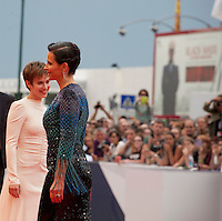 Actress Lou de Laage  and Juliette Binoche at the gala screening for the film L'attesa at the 72nd Venice Film Festival, Saturday September 5th 2015, Venice Lido, Italy.