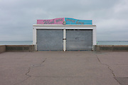 Shutters of a closed beach concession are pulled down on the Eastern Esplanade at Southend-on-Sea, Essex.