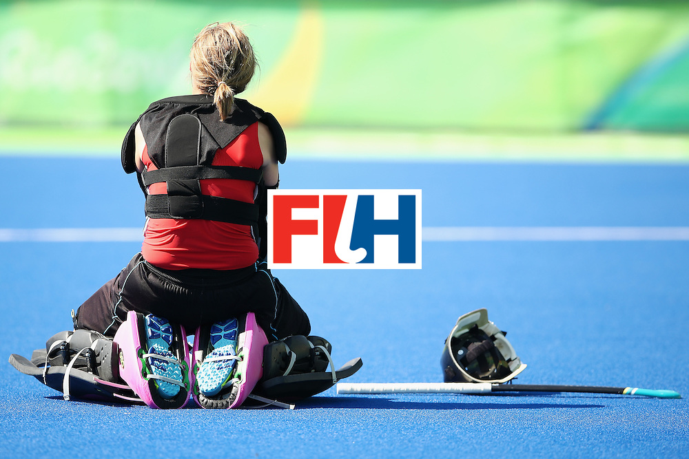 RIO DE JANEIRO, BRAZIL - AUGUST 17:  Marie Mavers of Germany looks dejected after defeat in the penalty shootout during the womens semifinal match between the Netherlands and Germany on Day 12 of the Rio 2016 Olympic Games at the Olympic Hockey Centre on August 17, 2016 in Rio de Janeiro, Brazil.  (Photo by Mark Kolbe/Getty Images)