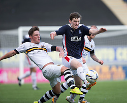 Dumbarton's Jordan Kilpatrick and Falkirk's Blair Alston.<br /> Falkirk 1v 1 Dumbarton, Scottish Championship game played 20/9/2014 at The Falkirk Stadium .