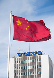 Chinese flag flying outside Volvo factory in Gothenburg Sweden
