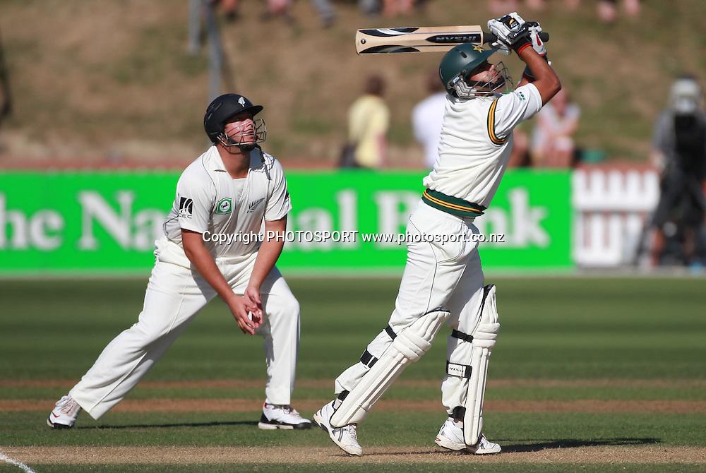 Pakistan batsman Azar Ali on Day 2 as Jesse Ryder looks on during the 2nd test match.  New Zealand Black Caps v Pakistan, Test Match Cricket. Basin Reserve, Wellington, New Zealand. Sunday 16 January 2011. Photo: Andrew Cornaga/photosport.co.nz