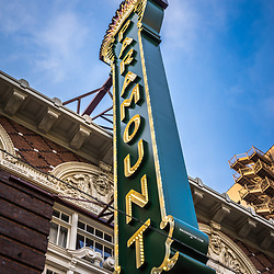 Paramount Theatre sign marquee in Austin, Texas. The Paramount Theater is a historic landmark in downtown Austin.