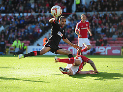Brentford's Farid El Alagui sees his shot blocked - Photo mandatory by-line: Joe Meredith/JMP - Tel: Mobile: 07966 386802 04/05/2013 - SPORT - FOOTBALL - County Ground - Swindon - Swindon Town v Brentford - Npower League one Play Off