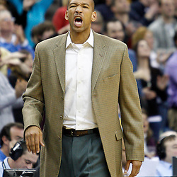 January 22, 2011; New Orleans, LA, USA; New Orleans Hornets head coach Monty Williams against the San Antonio Spurs during the third quarter at the New Orleans Arena. The Hornets defeated the Spurs 96-72.  Mandatory Credit: Derick E. Hingle