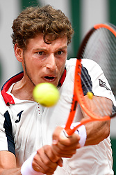 PARIS, June 2, 2017  Pablo Carreno Busta of Spain returns the ball to Grigor Dimitrov of Bulgaria during the men's singles 3rd round match at the French Open Tennis Tournament 2017 in Paris, France on June 2, 2017. (Credit Image: © Chen Yichen/Xinhua via ZUMA Wire)