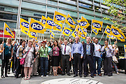 PCS protesting  about its members having the right to receive a living wage outside the DCLG Department for <br /> Communities and<br /> Local Government. London