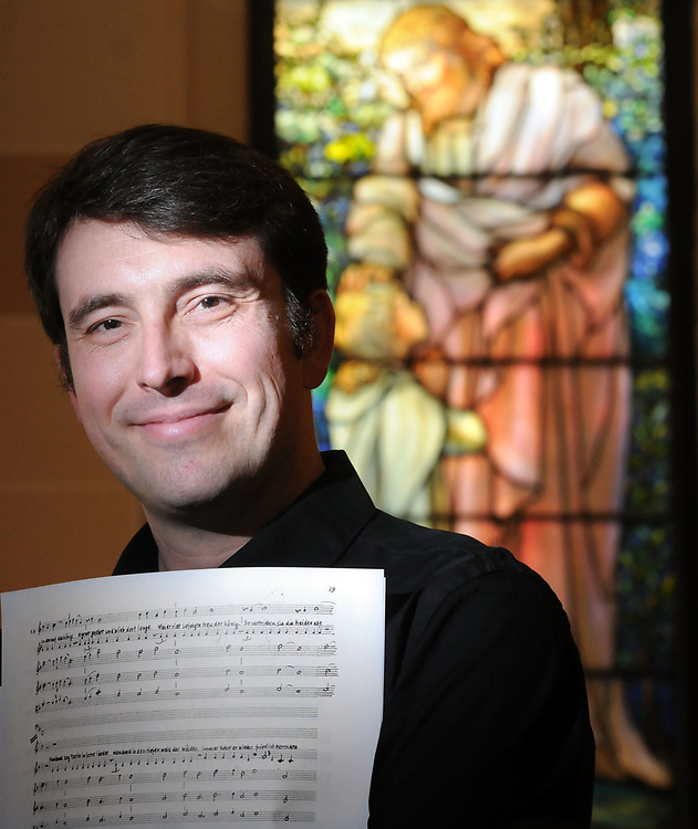 Adrian Slywotzky of New Haven is the music director and conductor of &quot;Merlin,&quot; Hugo Kauder's opera. Photographed in Trinity Lutheran Church, New Haven.  Mara Lavitt/New Haven Register mlavitt@newhavenregister.com<br /> <br /> 5/29/13