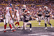 INDIANAPOLIS, IN - FEBRUARY 05:  Danny Woodhead #39 of the New England Patriots celebrates a touchdown during Super Bowl XLVI at Lucas Oil Stadium on February 5, 2012. (Photo by Tom Hauck)