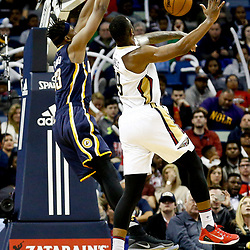 Dec 15, 2016; New Orleans, LA, USA; Indiana Pacers center Myles Turner (33) dunks over New Orleans Pelicans forward Terrence Jones (9) during the second half of a game at the Smoothie King Center. The Pelicans defeated the Pacers 102-95. Mandatory Credit: Derick E. Hingle-USA TODAY Sports
