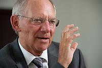 19 AUG 2010, BERLIN/GERMANY:<br /> Wolfgang Schaeuble, CDU, Bundesfinanzminister, waehrend einem Interview, in seinem Buero, Bundesministerium der Finanzen<br /> IMAGE: 20100819-01-047<br /> KEYWORDS: Wolfgang Schäuble