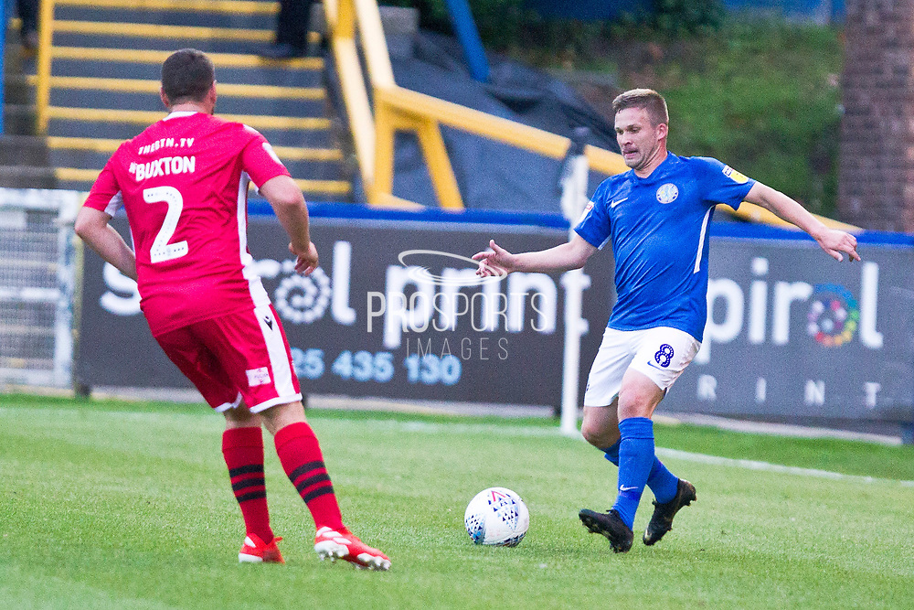 Macclesfield Town midfielder Jay Harris in action during the EFL Sky Bet League 2 match between Macclesfield Town and Morecambe at Moss Rose, Macclesfield, United Kingdom on 20 August 2019.
