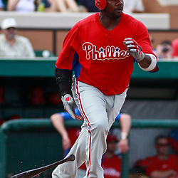 March 9, 2011; Lakeland, FL, USA; Philadelphia Phillies first baseman Ryan Howard (6) during a spring training exhibition game against the Detroit Tigers at Joker Marchant Stadium.   Mandatory Credit: Derick E. Hingle