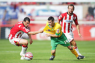 London - Saturday August 15th, 2009: Wesley Hoolahan (R) of Norwich City in action against Steve Tully of Exeter City during the Coca Cola League One match at St James Park, Exeter. (Pic by Mark Chapman/Focus Images)