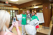 President and First Lady McDavis pause for a photo with first year student Nicholas Starn during move- in. Photo by Ben Siegel