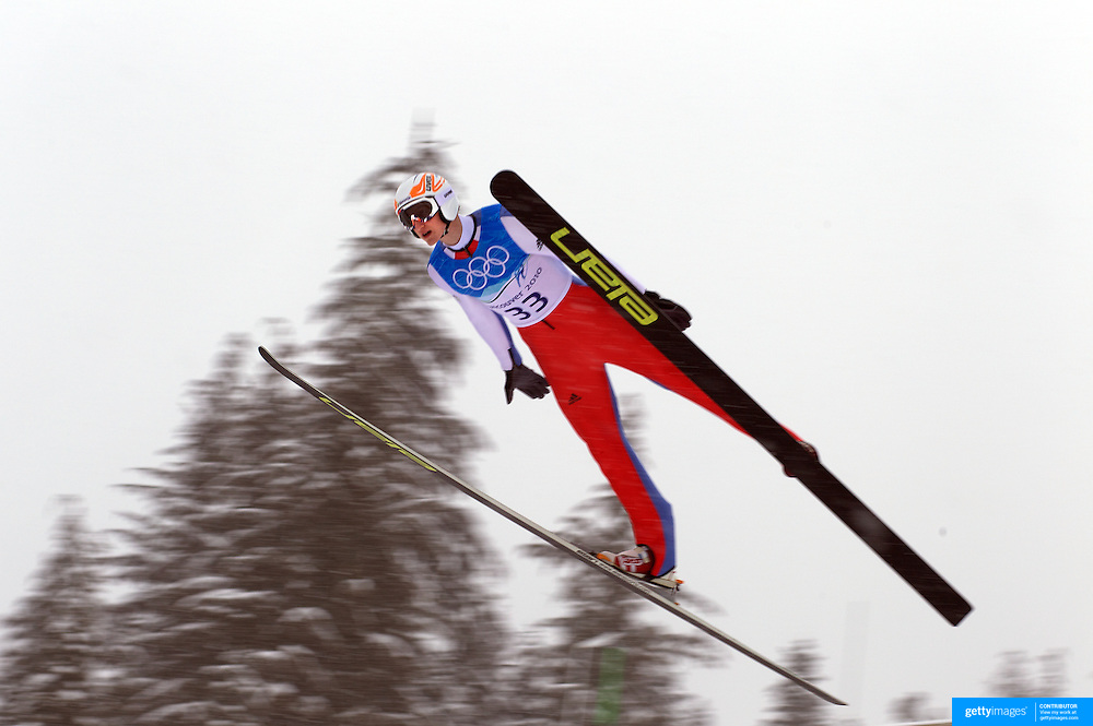 Winter Olympics, Vancouver, 2010.Mitja Meznar, Slovakia, in action during the Nordic Combined Ski Jumping at The Whistler Olympic Park, Whistler, during the Vancouver  Winter Olympics. 11th February 2010. Photo Tim Clayton