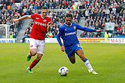 Gillingham FC midfielder Bradley Dack (23) and Charlton Athletic midfielder Andrew Crofts (8) battle for the ball during the EFL Sky Bet League 1 match between Gillingham and Charlton Athletic at the MEMS Priestfield Stadium, Gillingham, England on 22 October 2016. Photo by Andy Walter.