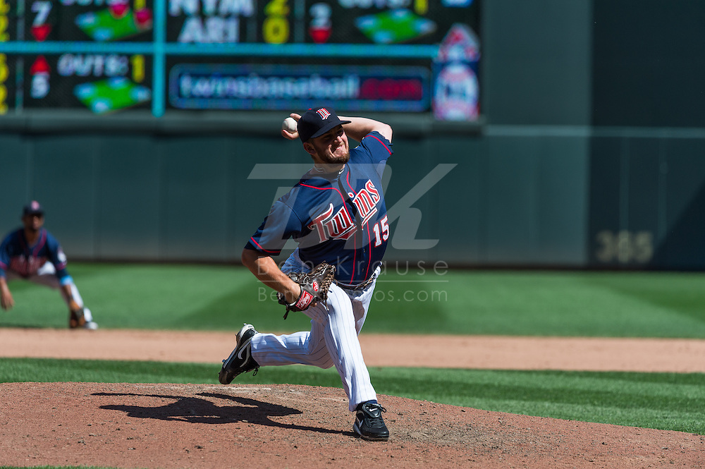 Minnesota Twins reliever Glen Perkins pitches agaisnt the Cleveland Indians at Target Field in Minneapolis, Minnesota on July 29, 2012.  The Twins defeated the Indians 5 to 1.  © 2012 Ben Krause