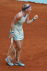 May 6, 2019 - Madrid, Spain - Kiki Bertens of Netherlands in action against Jelena Ostapenko of Latvia during day three of the Mutua Madrid Open at La Caja Magica on May 06, 2019 in Madrid, Spain  (Credit Image: © Oscar Gonzalez/NurPhoto via ZUMA Press)