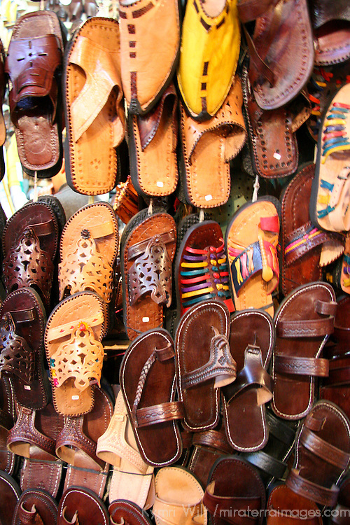 North Africa, Africa, Morocco, Marrakesh. A selection of ltraditional Moroccan eather footware.
