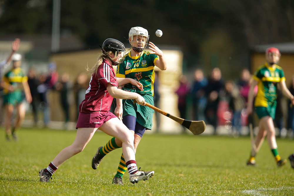 National Camogie League Division 2 at Trim, 20th March 2016<br /> Meath vs Galway<br /> Jane Dolan (Meath) & Lorraine Coen (Galway)<br /> Photo: David Mullen /www.cyberimages.net / 2016