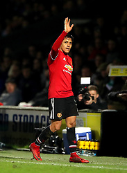 Manchester United's Alexis Sanchez acknowledges the fans after being substituted off during the Emirates FA Cup, fourth round match at Huish Park, Yeovil.