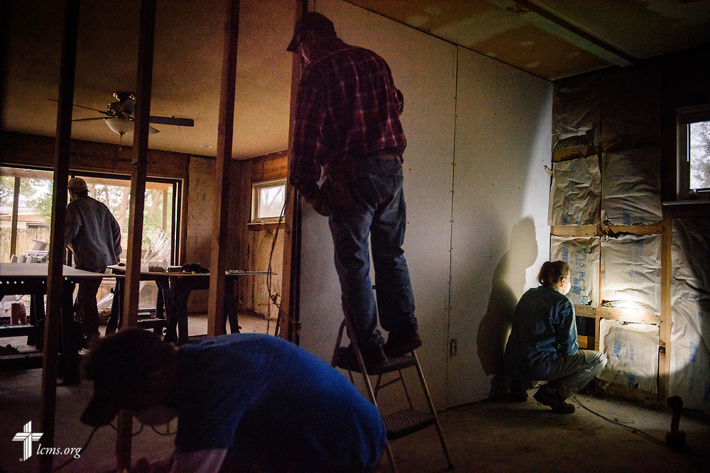 Volunteers from Saint Paul Lutheran Church, Mount Prospect, Ill., help rebuild a home damaged by Hurricane Harvey on Wednesday, Feb. 7, 2018, in Port Arthur, Texas.  LCMS Communications/Erik M. Lunsford