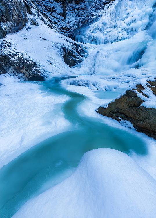 Icy winter cascade, Moss Glen Falls, Stowe, Vermont