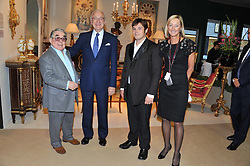 Left to right, RONNIE CORBETT, LORD CHADLINGTON Chairman of LAPADA, TOM CORBETT and SARAH PERCY-DAVIS Chief Executive of LAPADA at a preview evening of the annual London LAPADA (The Association of Art & Antiques Dealers) antiques Fair held in Berkeley Square, London on 18th September 2012.