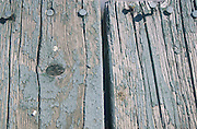 Close up of weathered, chipped paint on a wooden dock.with the nails sticking up.