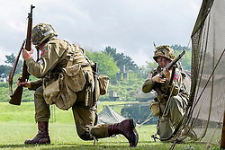 Members of the US 82nd Airborne/505th RCT living History Group take part in the first days battle re-enactment at Fort Paull <br /> <br />   03 May 2015<br />   Image &copy; Paul David Drabble <br />   www.pauldaviddrabble.co.uk