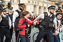 © Licensed to London News Pictures 15/02/2019 Westminster, London, UK. According to legal observers 3 arrests were made during the course of a day of protest against inaction over climate change, where thousands of  schoolchildren staged demonstrations across the country Photo credit: Guilhem Baker/LNP