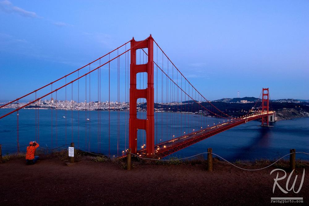 Golden Gate Bridge Tourist Photographer at Battery Point, Marin Headlands, California