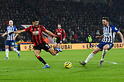 Dominic Solanke (9) of AFC Bournemouth lines up a shot at goal during the Premier League match between Bournemouth and Brighton and Hove Albion at the Vitality Stadium, Bournemouth, England on 21 January 2020.