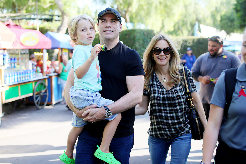 John Travolta and Kelly Preston on a visit to Legoland California on Saturday, Sept. 4, 2015 in Carlsbad. CA.(Photo by Sandy Huffaker/Legoland)