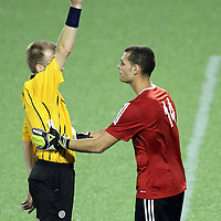 Puerto Rico United Goalkeeper Jose Miranda Boudy (14) receives a yellow card during a United Soccer League Pro soccer match between Puerto Rico United and the Orlando City Lions at the Florida Citrus Bowl on April 22, 2011 in Orlando, Florida.  (AP Photo/Alex Menendez)