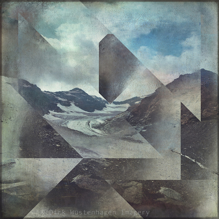 Alpine mountains with geometric graphical overlay<br />